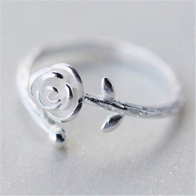 Charm Silver Plated Simple Ladies Girls Sliver Rose Flower Adjustable Ring Band