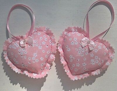 handmade pair of fabric small hanging hearts decorative pink floral vintage