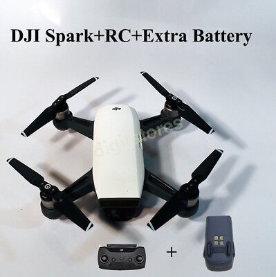 BrandNew DJI Spark+Remote Controller+Extra Battery-Alpine White Quadcopter Drone