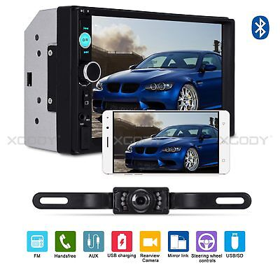 "7"" Bluetooth Touch Screen Double 2DIN Car Stereo Radio MP5 MP3 Player TF Camera"