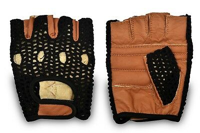 Genuine Leather Gloves Padded Palm Weight Lifting Cycling Gym Fitness Glove
