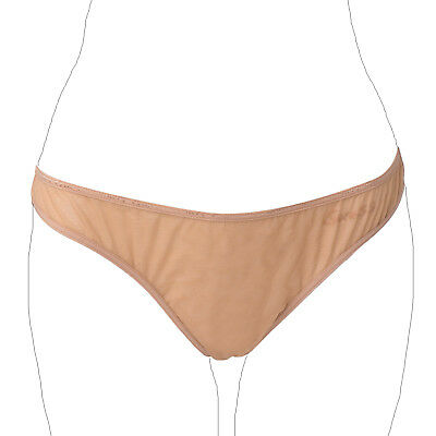 GUESS Bikini Knickers Size XL Beige Mesh Panel See Through Double Layer Front