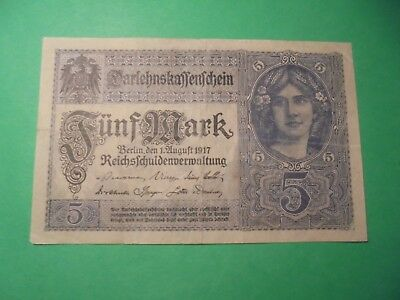 Ww1 German Banknote 1917.