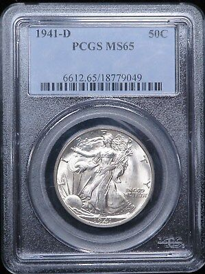 1941-D Walking Liberty Half Dollar Silver 50C PCGS MS65