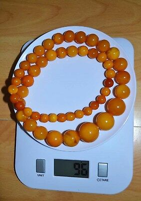 96g Antique Baltic Amber Necklace Egg Yolk Beads Beautiful Vintage Genuine