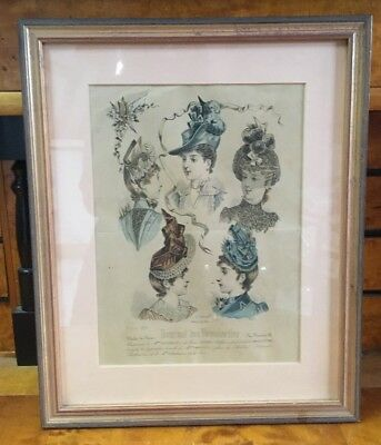 Antique 19th Century French Fashion Picture Of Ladies In Solid Gold Gilt Frame