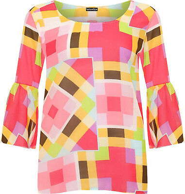 Womens Plus Size Bell Sleeve Retro Multi Square Print Sheer Chiffon Blouse Top