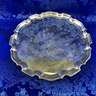 """English Elkington & Co Silver Plate 12"""" Footed Salver Serving Tray England"""
