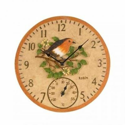 Outside In Robin Garden Outdoor Weather Resistant Thermometer & Wall Clock