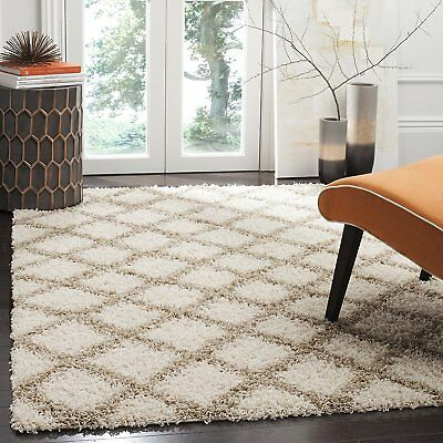 Safavieh Dallas Shag Collection SGDS258B Ivory and Beige Area Rug (4' x 6')