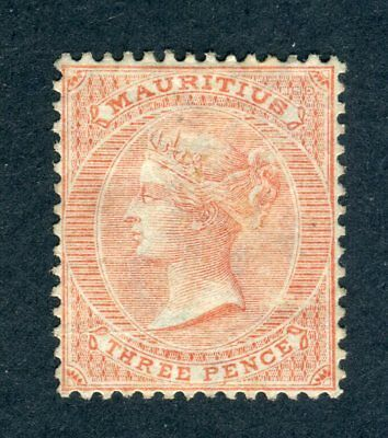 Mauritius 1863-72 QV. 3d dull red. Mint/Used? NG. Crown CC. SG 61a.