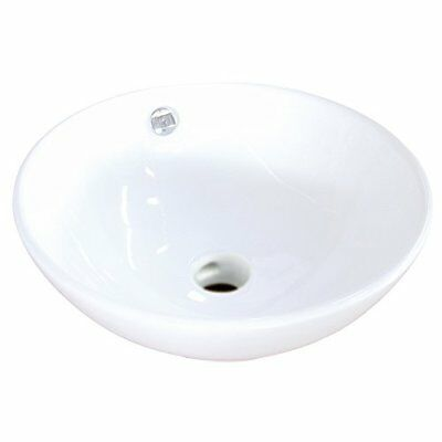 Kingston Brass Perfection White China Vessel Bathroom Sink with Overflow Hole
