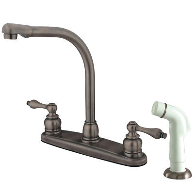 Water Saving Victorian High Arch Kitchen Faucet With Lever Handles And Sprayer