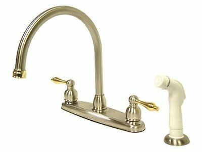Kingston Brass Vintage Double Handle Goose Neck Kitchen Faucet with White Spr...