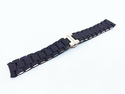 BROWN 23mm RUBBER/STEEL Strap Band Bracelet fit Emporio Armani AR5890 watch+pins