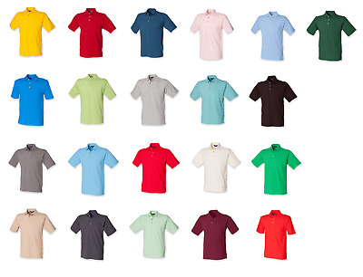 New Mens Gents Henbury Classic Cotton Polo T-Shirt Top SMALL - 3XL H100