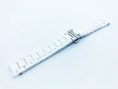 WHITE 23mm RUBBER/STEEL Strap Band Bracelet fit Emporio Armani AR5859 watch+pins