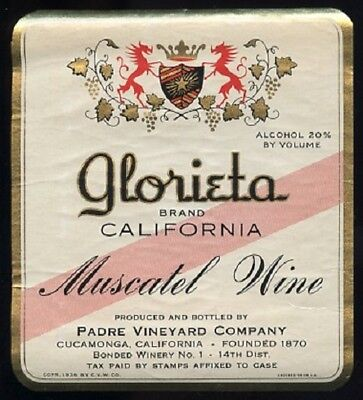 Padre Vineyard Co. GLORIETA Muscatel Wine Bottle Label CUCAMONGA California 1936