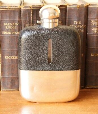 Large Antique Silver Plate & Leather Hip Flask. Spirit Whisky / Brandy Flask