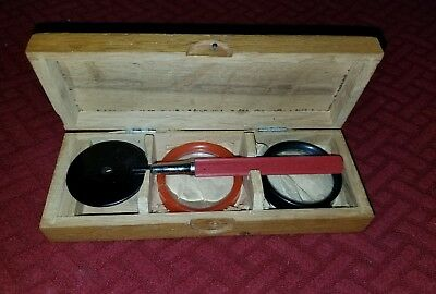 Antique German  Ophthalmoscope in box Augenspiegel Karl Huschle 2 magnifier lens