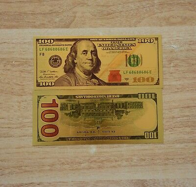 USA Gold Foil Banknotes Collector Art Collection Paper Money $100 Dollar Bills