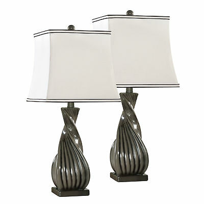 Grain Grey With White Fabric Shade Contemporary Table Lamps (Set Of 2)