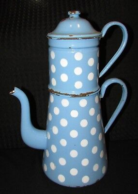 GRANDE CAFETIERE EMAILLEE ANCIENNE BLEUE POIS BLANCS  antique ENAMEL COFFEE POT