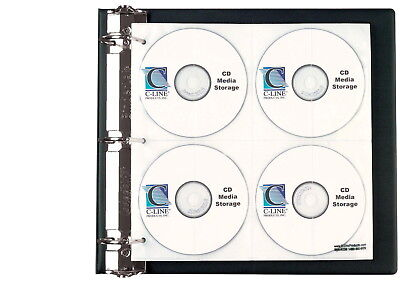 C-Line Deluxe CD Ring Binder Storage Sheets, Holds 8 CDs, Pack of 5