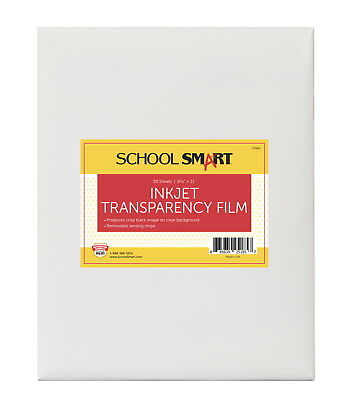 School Smart 8-1/2 x 11 in Inkjet Film with Removable Strip, Pack of 50, Tran...