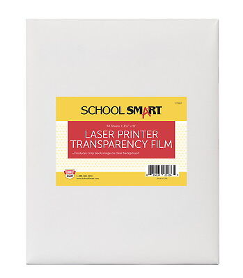 School Smart 8-1/2 x 11 in Laser Transparency Film Without Sensing Strip, Pac...