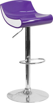 Contemporary Purple and White Adjustable Height Plastic Barstool with Chrome ...