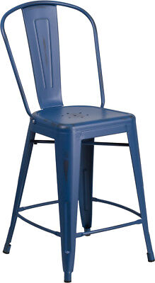 24'' High Distressed Antique Blue Metal Indoor-Outdoor Counter Height Stool w...