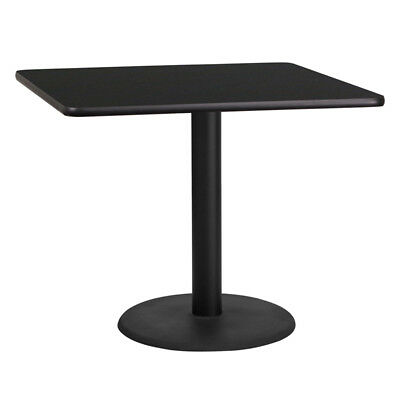 36'' Square Black Laminate Table Top with 24'' Round Table Height Base - XU-B...