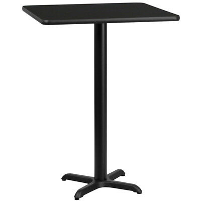 30'' Square Black Laminate Table Top with 22'' x 22'' Bar Height Table Base -...