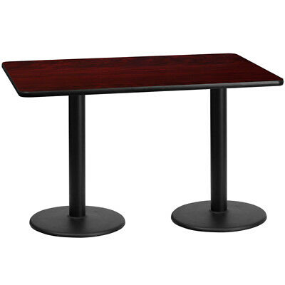 30'' x 60'' Rectangular Mahogany Laminate Table Top with 18'' Round Table Hei...