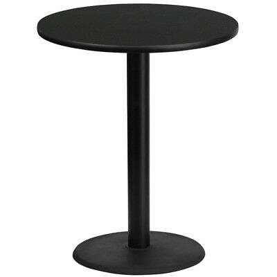 36'' Round Black Laminate Table Top with 24'' Round Bar Height Table Base - X...