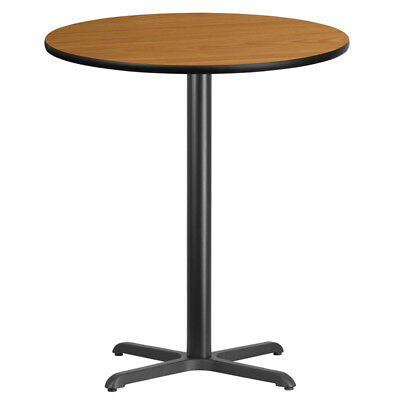 36'' Round Natural Laminate Table Top with 30'' x 30'' Bar Height Table Base ...
