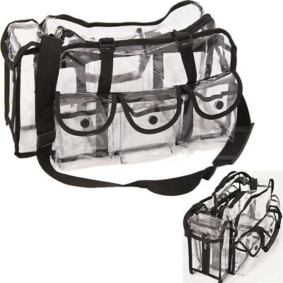 Large Carry Clear Set Bag with 6 External Pockets, Tissue Holder and Shoulder...