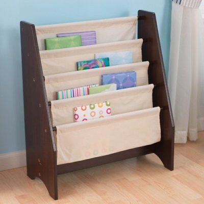 KIDKRAFT 14229 KIDS Espresso Dark Brown Sling Canvas Bookcase Book