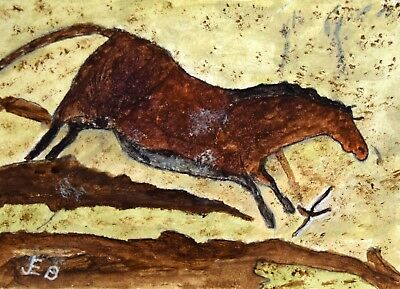 ACEO 'Cave Horse' cave drawing/painting -  original acrylic by JEB