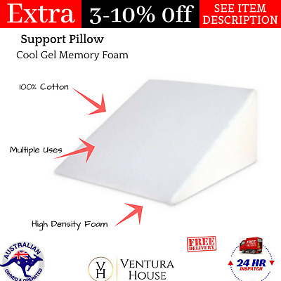 Cool Gel Memory Foam Wedge Backrest Neck Body Sleeping Fabric Support Pillows