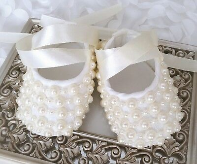 Baby Girl Ivory Christening Shoes Baptism Party Dress Pearls