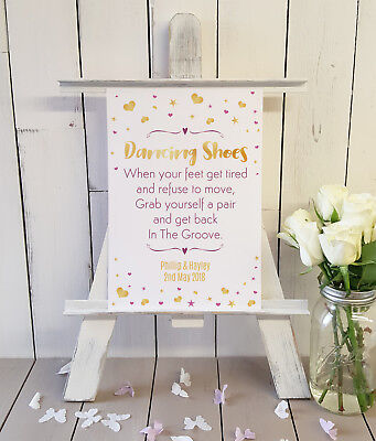 84712c09e PERSONALISED DANCING SHOES flip flops Wedding sign GOLD PINK A4 ...