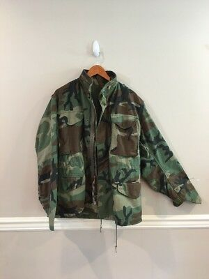 Vintage Military Army Camo Field Jacket Size Small Short