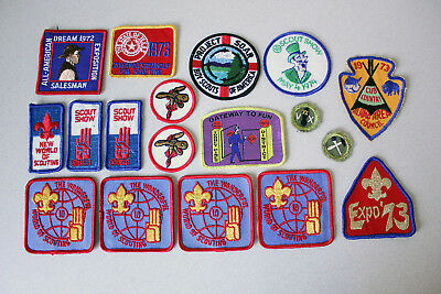 Vintage Lot of 18 BSA Boy Scouts Patches 1970's Expo Salesman Scout Shows Expos