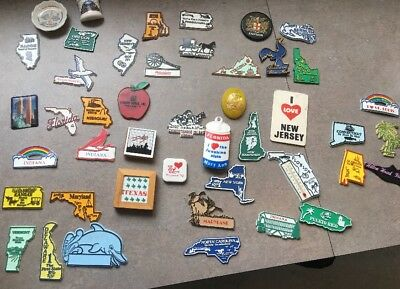 Lot of 45 Vintage USA States Fridge Refrigerator Magnets Free Ship