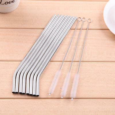 8 Stainless Steel Metal Reusable Cocktail Drinking Straws & 3 Cleaner Brush Set