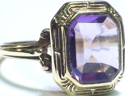 Vintage Antique Solid 10K Yellow Gold Amethyst Ring  Size 5.5
