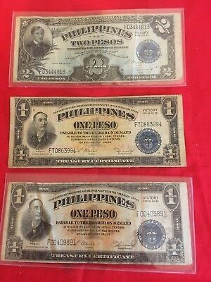Lot of 3 Circulated 1922 Philippine Victory Bills, 2 One Peso & 1 Two Pesos