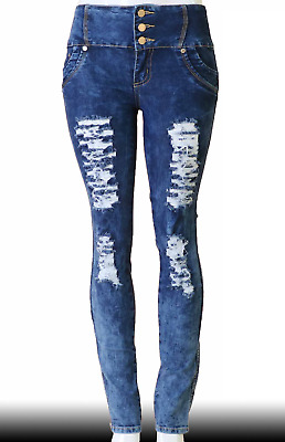 High Waist  Stretch Push-Up Colombian Style Skinny Jeans in M.blue  N1406
